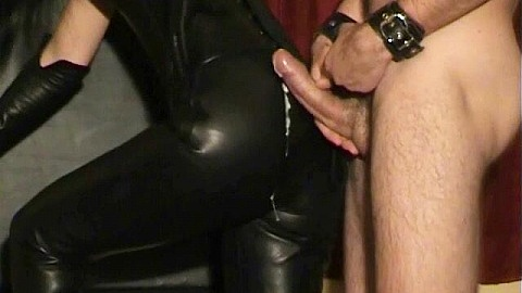 Leather Hunk In Fetish Group Cumshots